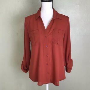 Mine Burnt Orange Button Down Shirt Size L